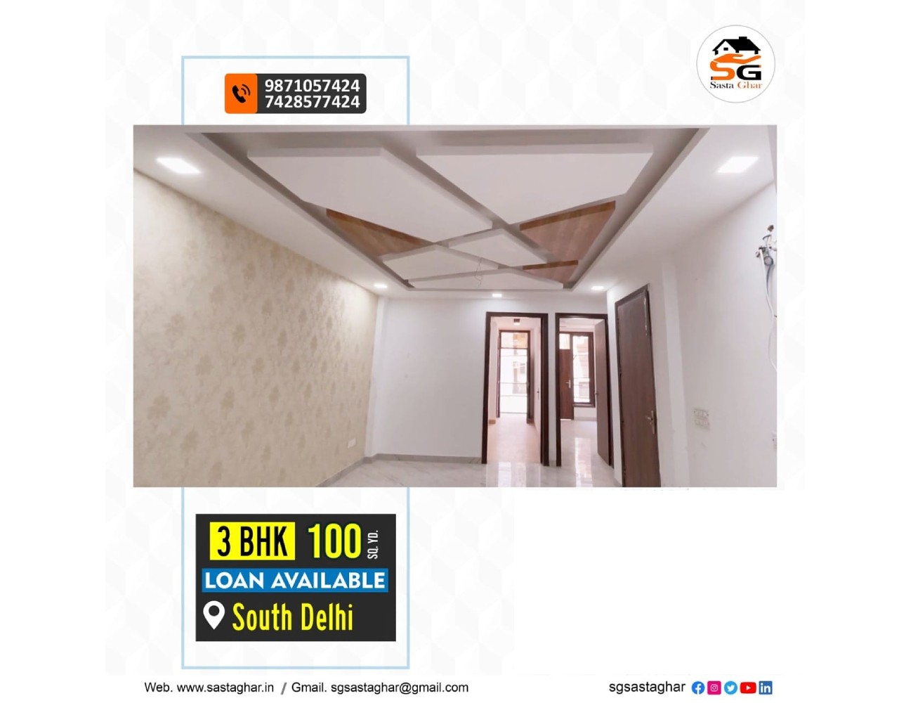 3 BHK flats in South Delhi with bank Loan