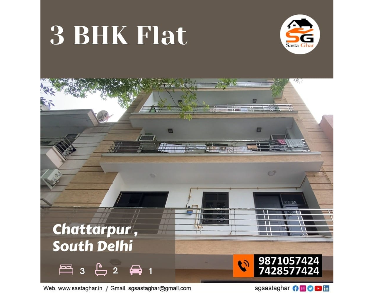 3 BHK flats in Chattarpur Gated Compound