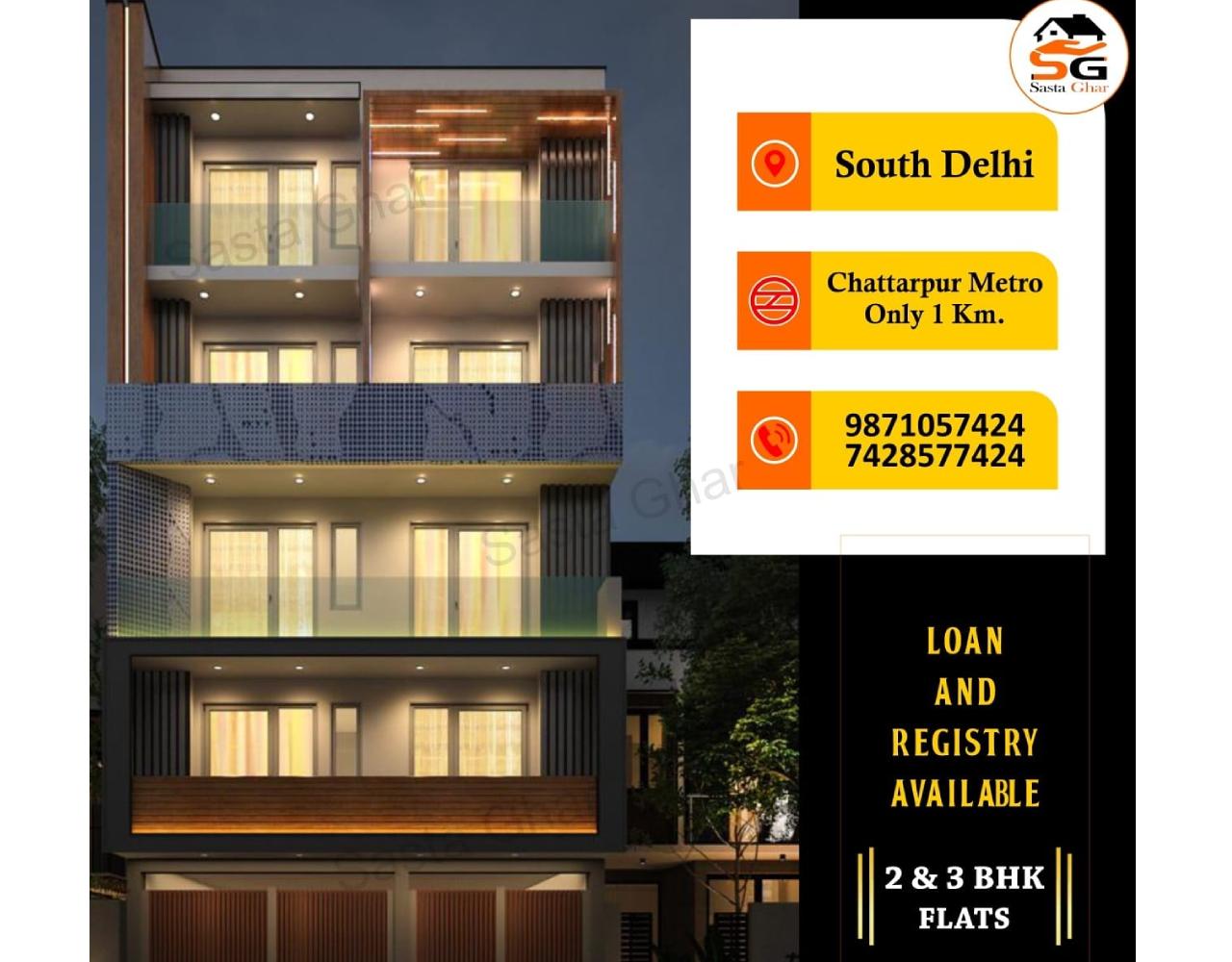3 BHK flats Chattarpur Extension